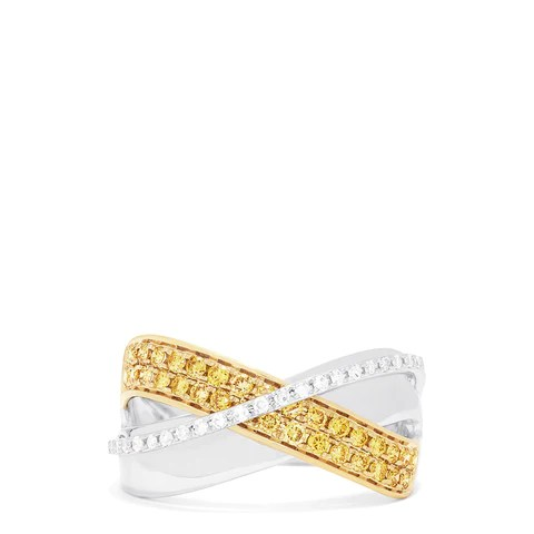 Effy Canare 14K Two-Tone Gold Yellow and White Diamond Ring, 0.44 TCW
