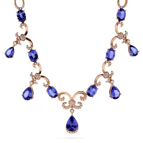 Effy Tanzanite Royale 14K Rose Gold Tanzanite & Diamond Necklace, 11.90 TCW