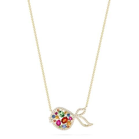 Effy Watercolors 14K Gold Multi Sapphire & Diamond Fish Necklace, 1.26 TCW