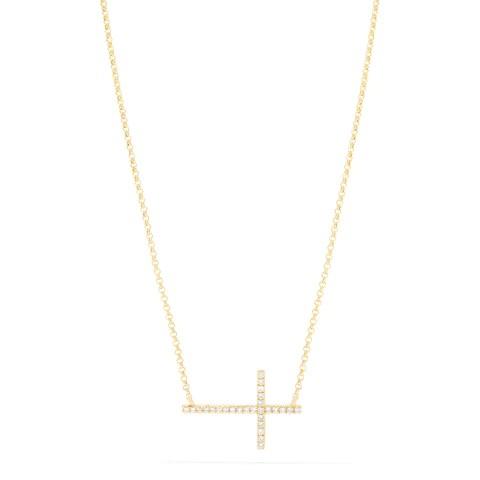 Effy Novelty 14K Yellow Gold Diamond Cross Necklace, 0.09 TCW