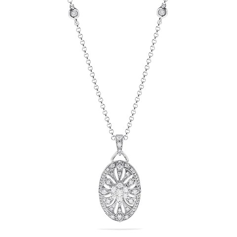 Effy 14K White Gold Diamond Necklace, 0.42 TCW
