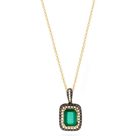 Effy Brasilica 14K Yellow Gold Emerald & Diamond Pendant, 1.73 TWC