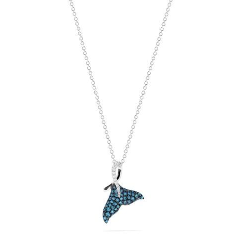 Effy Novelty 14K Gold Blue & White Diamond Whale Tail Pendant, 0.50 TCW