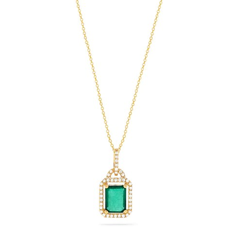 Effy Brasilica 14K Yellow Gold Emerald & Diamond Pendant, 1.62 TWC