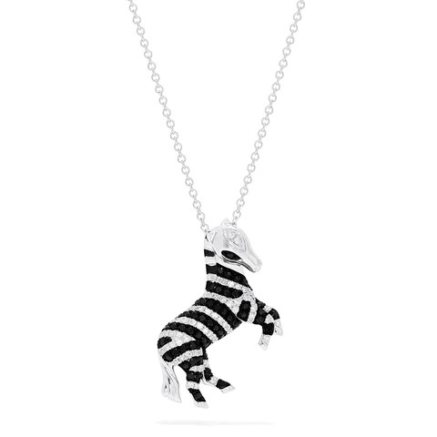 Effy Safari 14K White Gold Black and White Diamond Zebra Pendant, 0.50 TCW