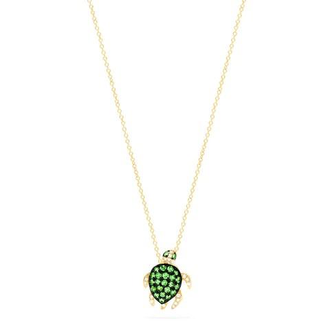 Effy Safari 14K Yellow Gold Tsavorite and Diamond Mini Turtle Pendant