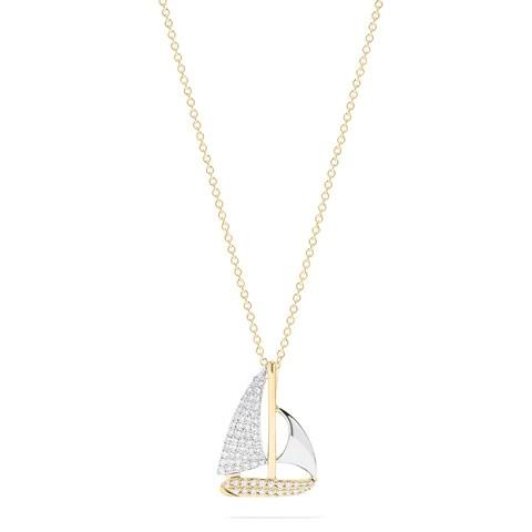Effy Novelty 14K Two Tone Gold Diamond Sailboat Pendant, 0.27 TCW