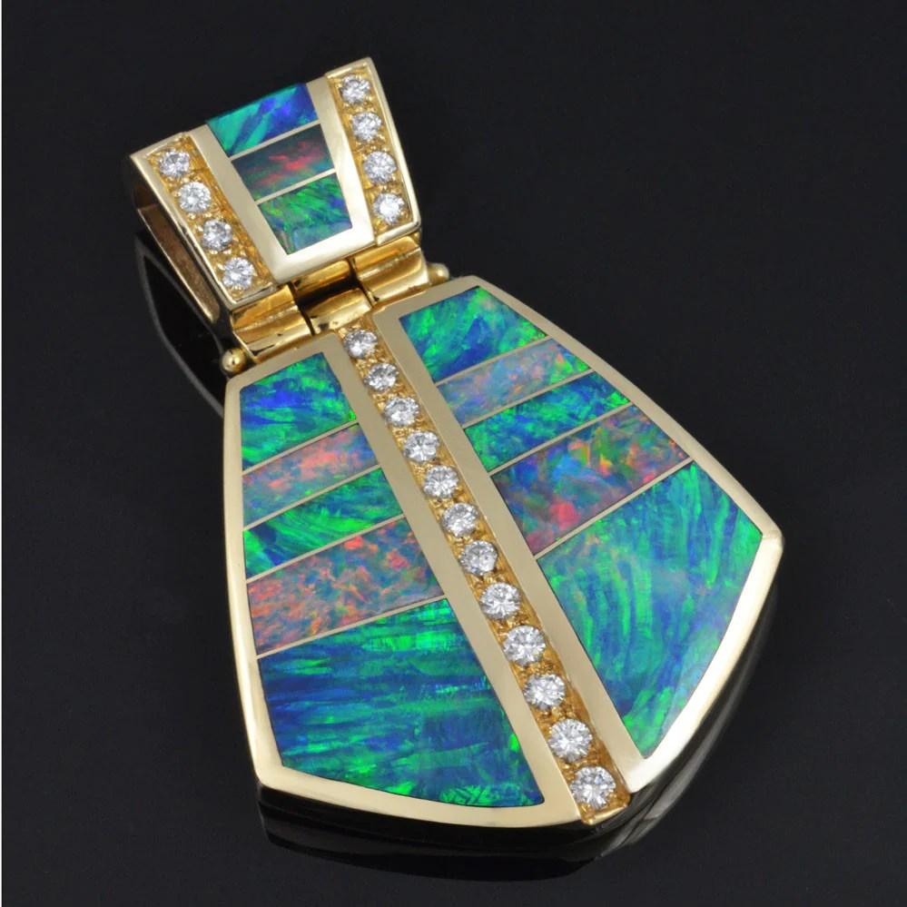 Australian Opal Inlay Pendant With Diamonds Set In 14k