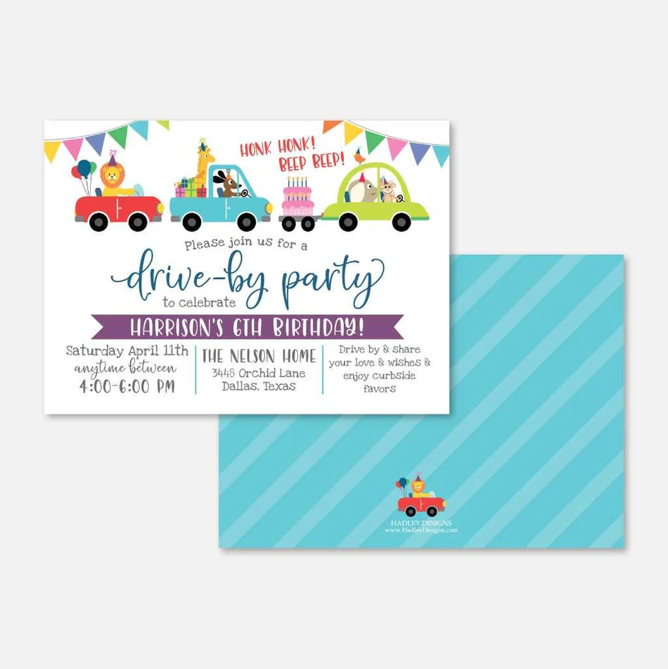drive by parade kids party invitation printable