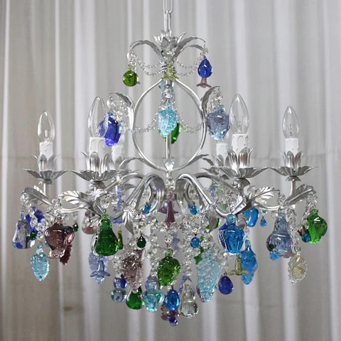 Blue Green And Purple Murano Glass Fruits Chandelier