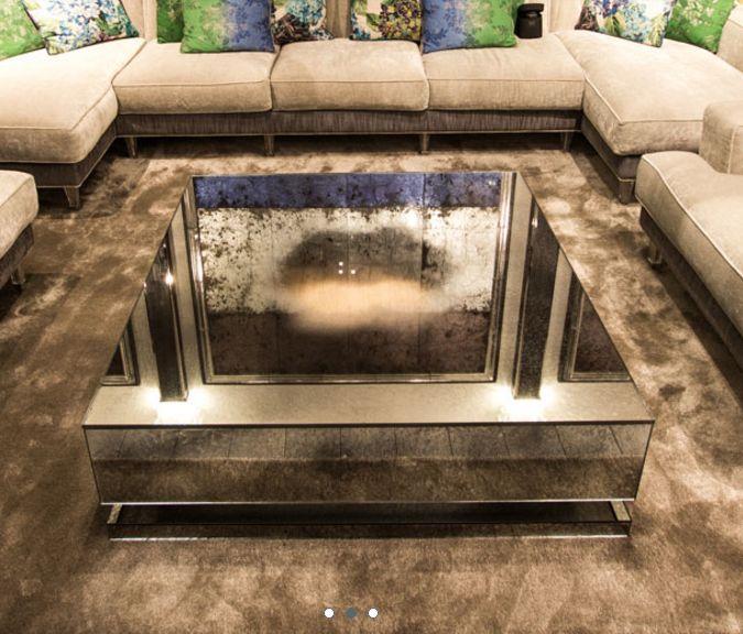 modern venetian mirrored coffee table