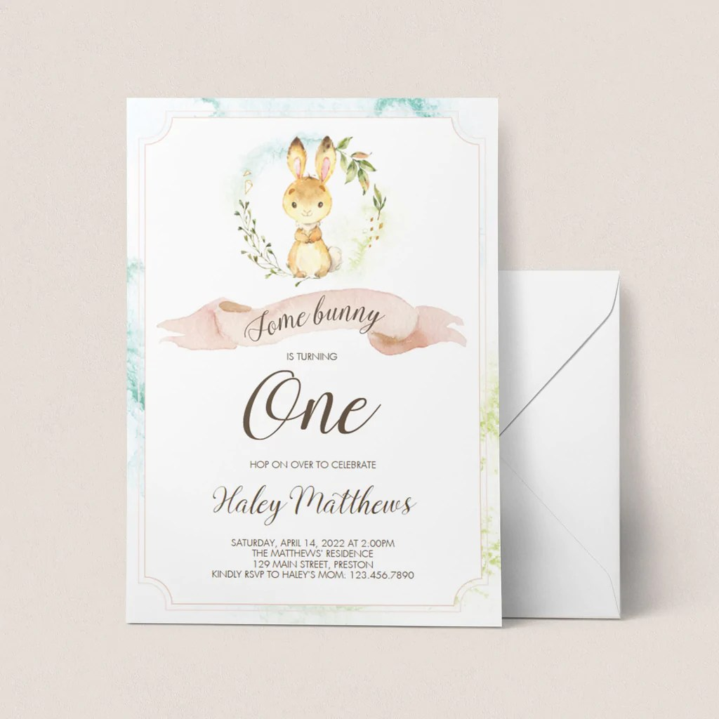 some bunny is turning one invitation template