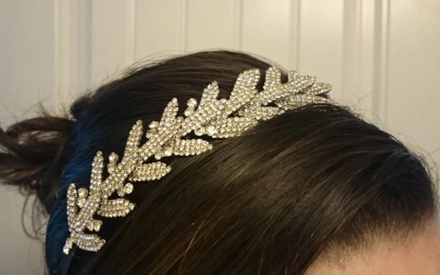 bridal headband wedding headpiece rhinestone hair comb crystal headpiece, leaf hair accessory, leaf hair comb