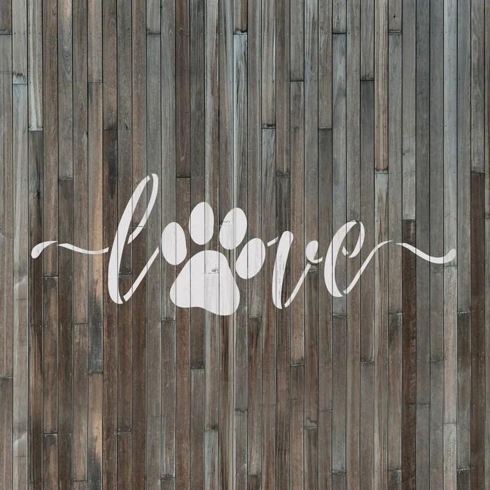 Download Love Paw Print Script Stencil   Stencil Revolution