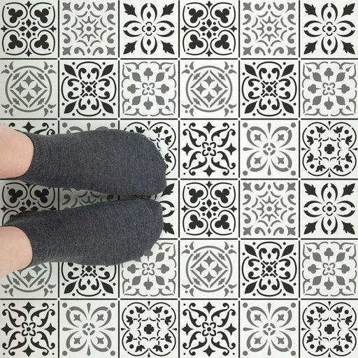 decor with tile floor stencils