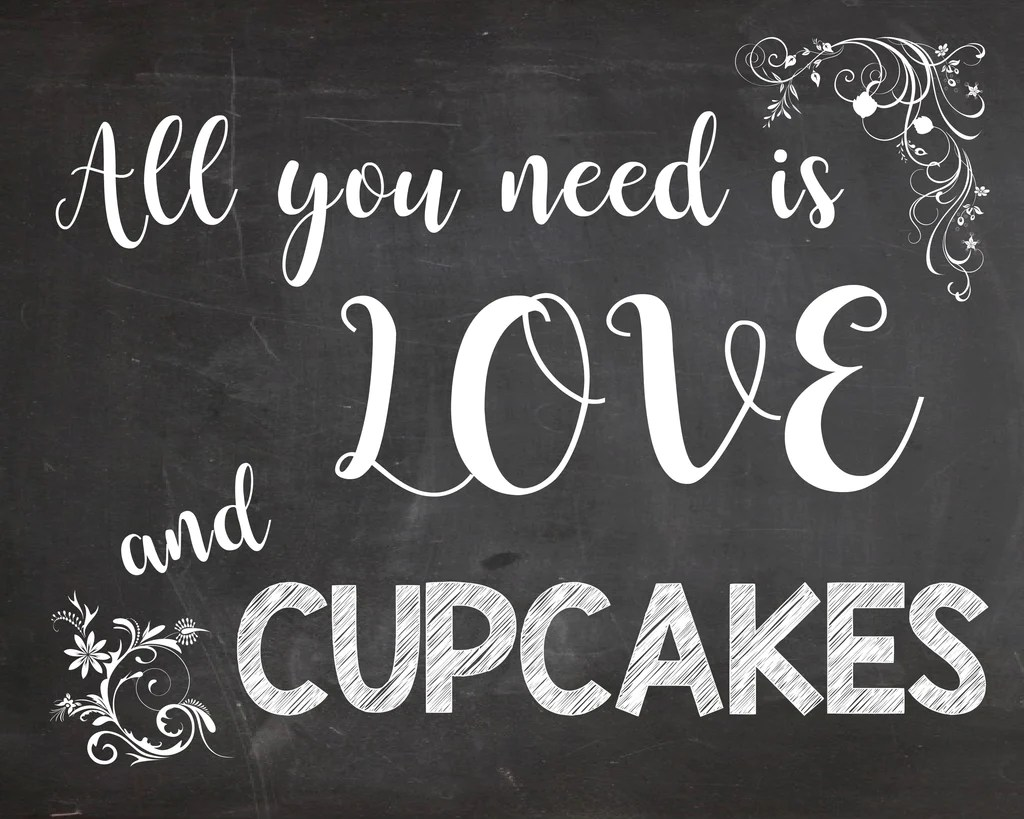 Download All You Need is Love and Cupcakes sign - Cupcake Table ...