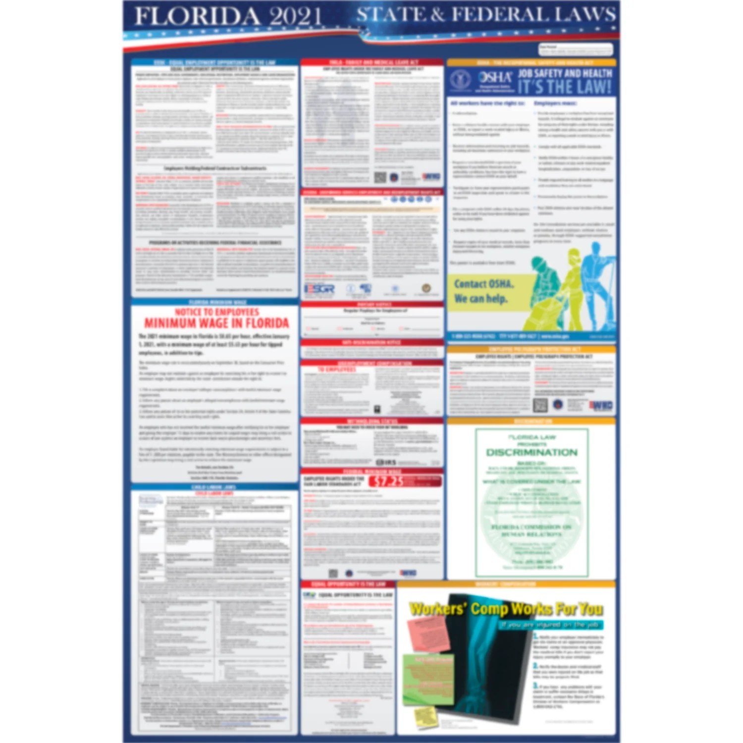 2021 florida state and federal labor laws poster osha workplace compliant 24