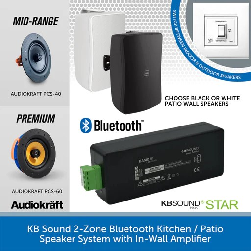kbsound 2 zone bluetooth kitchen patio speaker system with in wall amplifier premium audiokraft pcs 60 black