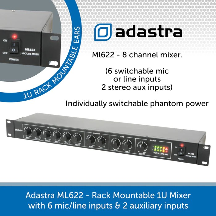 adastra ml622 compact 8 channel rack mount mixer