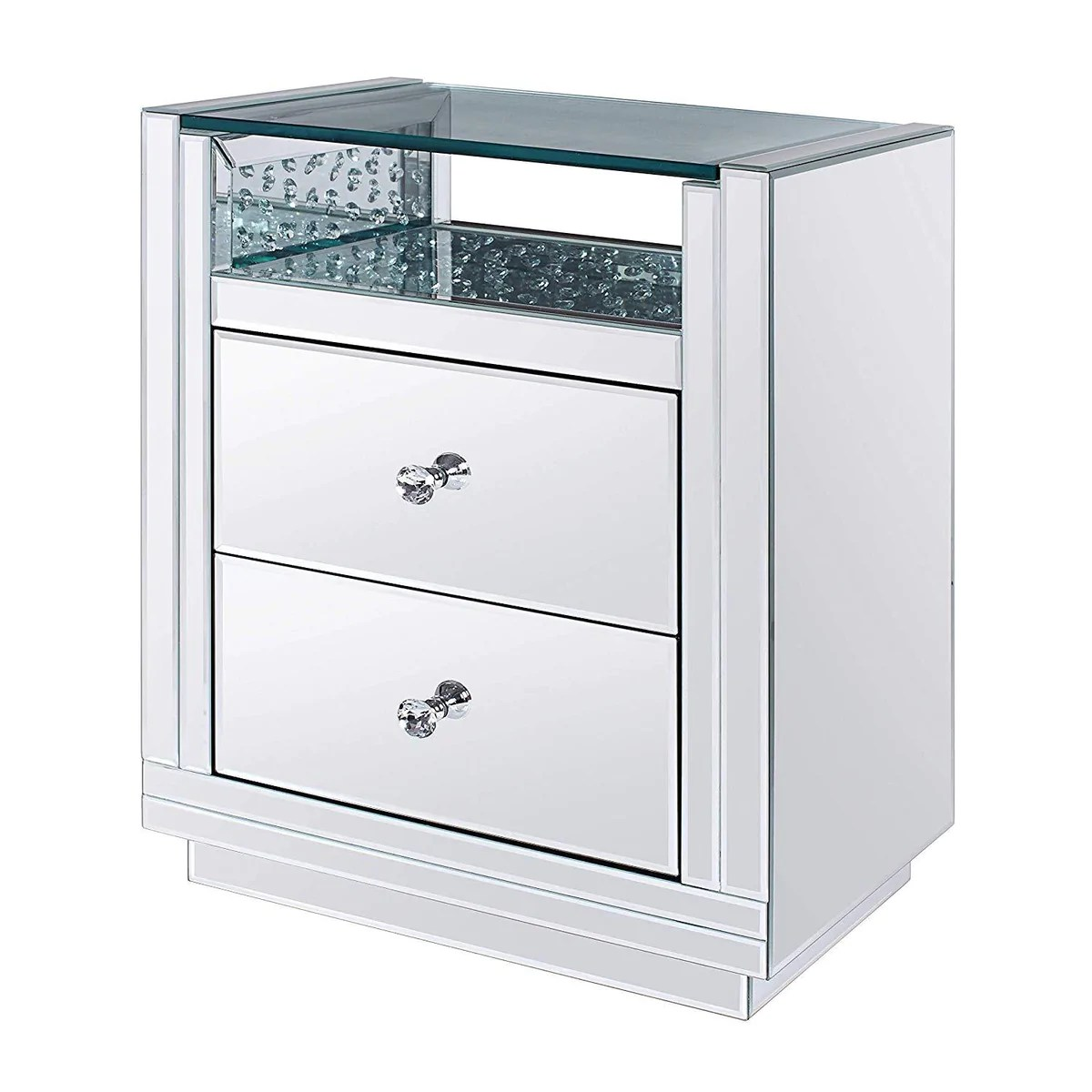 Bm195983 Two Drawers Wooden Nightstand With Mirrored Paneling Clear