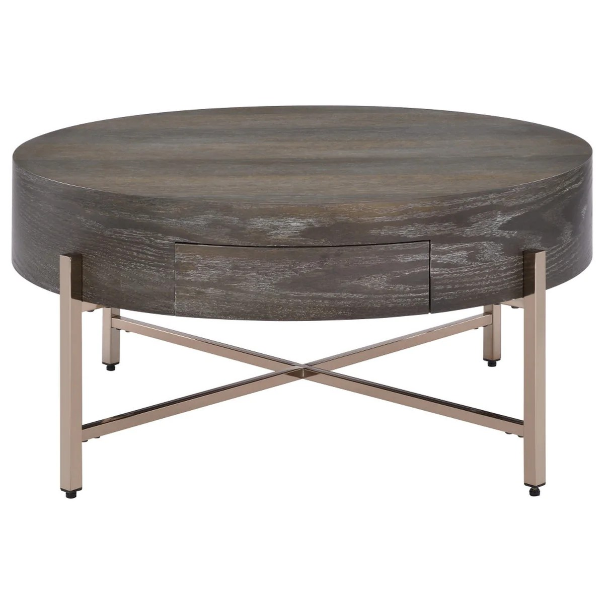 1 drawer round modern coffee table with crossed metal legs brown and gold bm215037