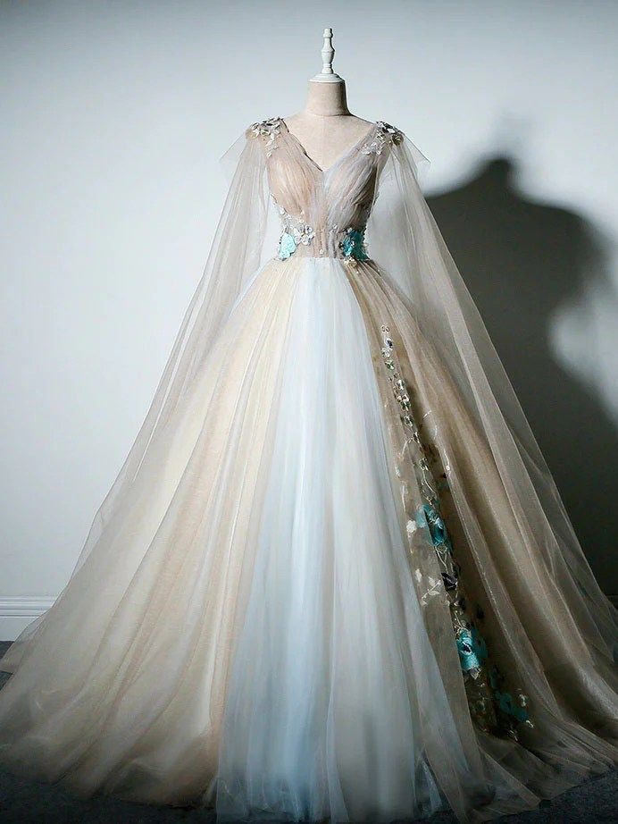 Ball Gown Prom Dresses V Neck Appliques Fairy Dress Long