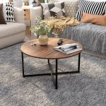 Industrial Round Coffee Table Vintage Mid Century Style Wooden Tea Table