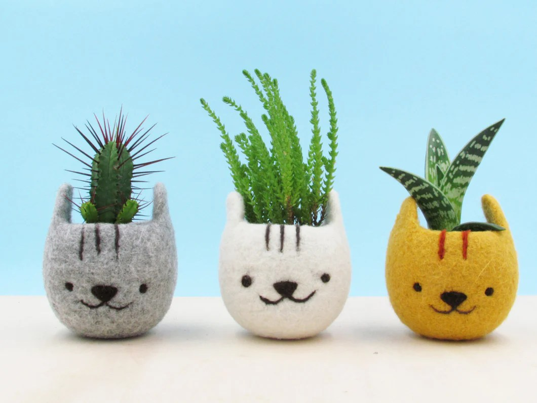Cute Plant Pot Gift For Her Felt Succulent Planter Neko Atsume Special The Yarn Kitchen