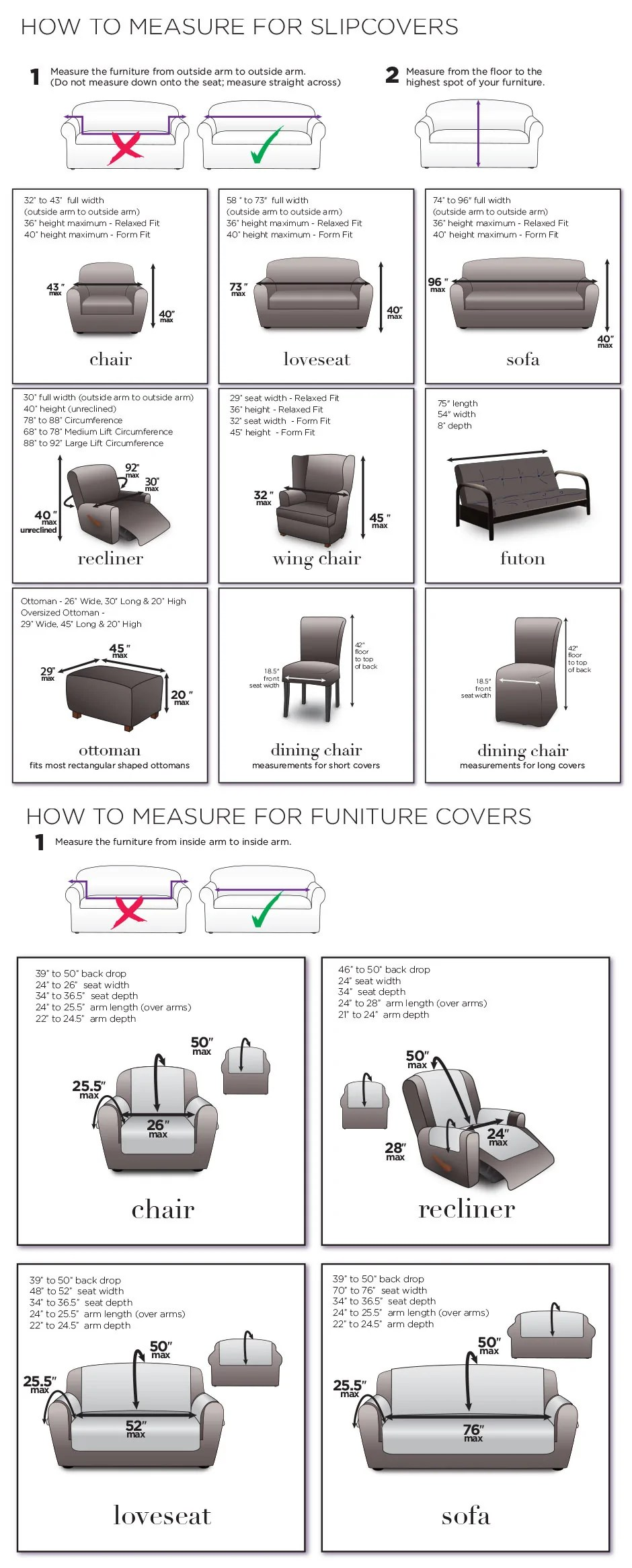 measuring guide for slipcovers chairs