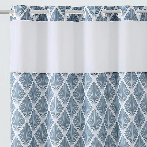 diamond hookless shower curtain includes snap on off replaceable liner