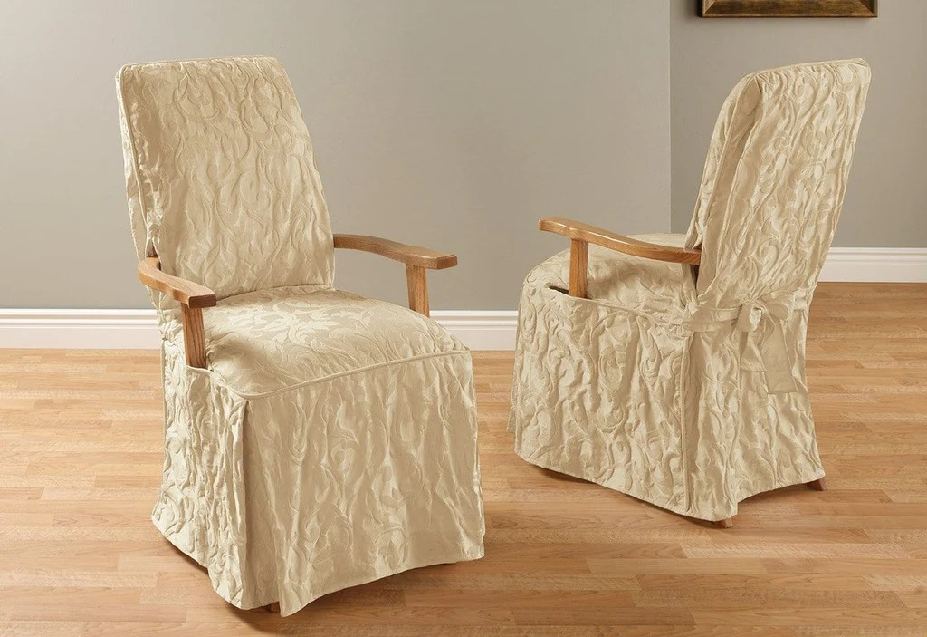 Matelasse Damask Long With Arms Arm Long Dining Chair