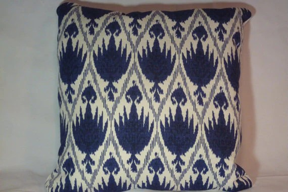ikat pillow cover navy blue and white decorative pillow cover designer fabric