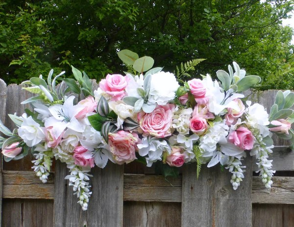 Pink And White Wedding Arbor Swag