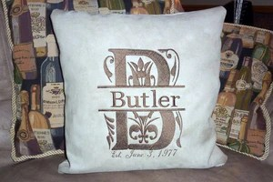monogram pillow cover personalized pillow cover embroidered name and est date