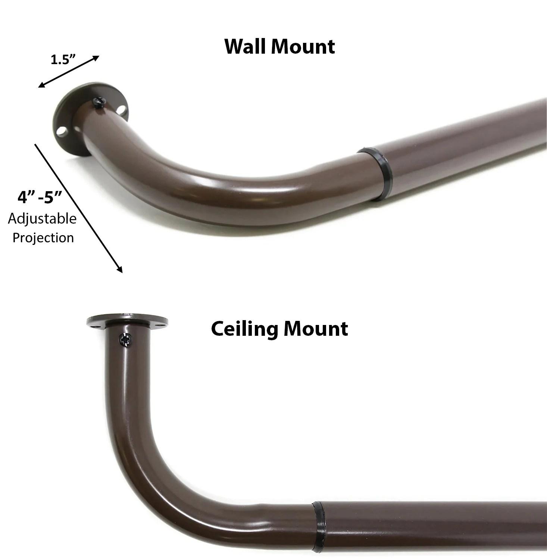 1 inch diameter adjustable wraparound curtain rod set