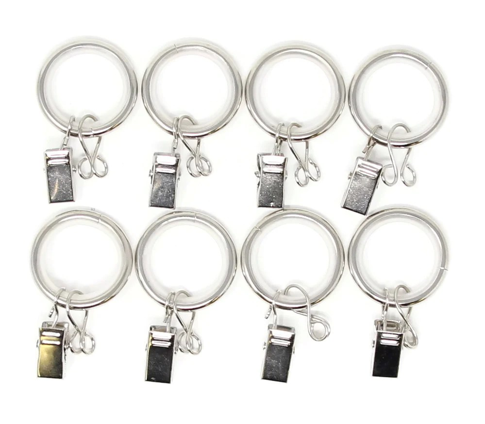 urbanest 1 inch metal curtain rings with clips eyelets and nylon inserts quiet smooth set of 8 fits up to 3 4 inch rod glossy white