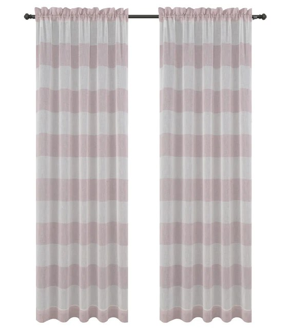 nassau faux linen sheer striped curtain panels with rod pocket 7 colors