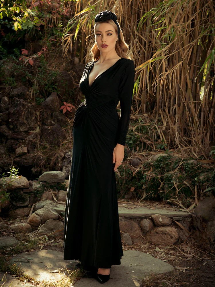 art deco rusched gown in black