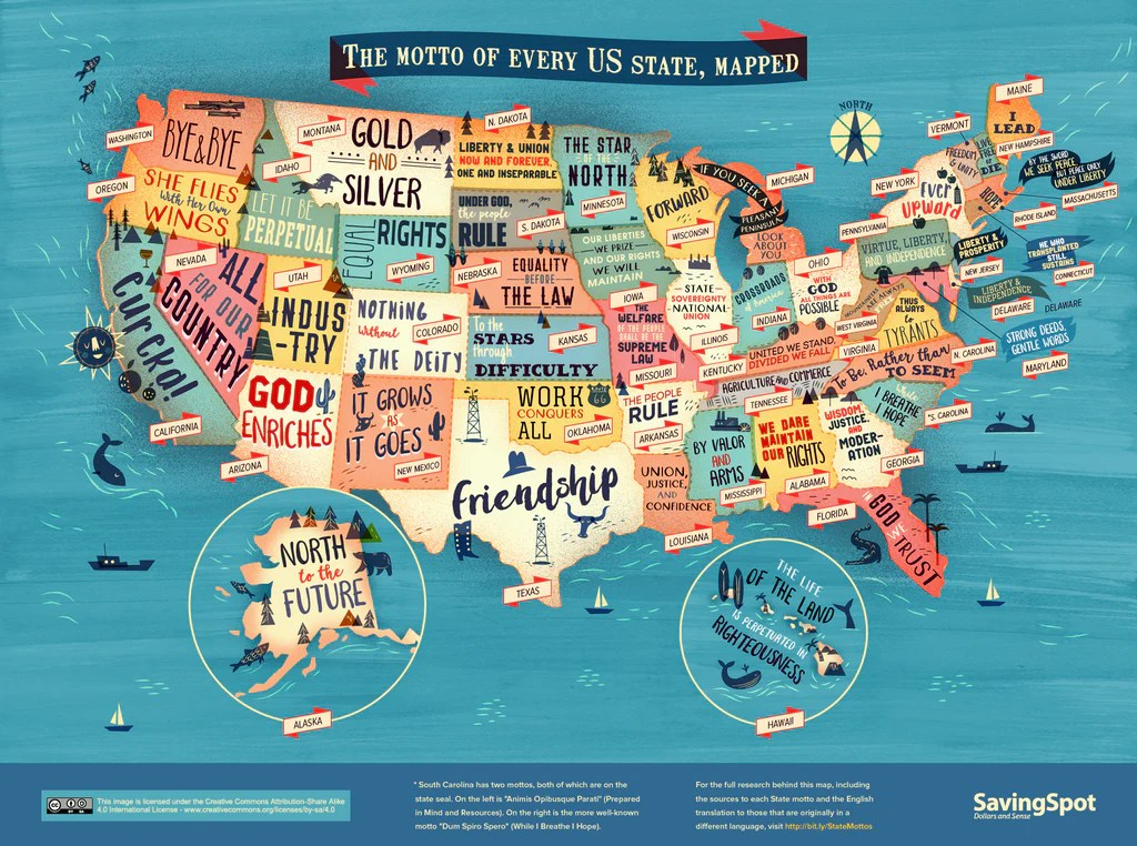Every Us State S Motto In One Handy Map The Foodnited States