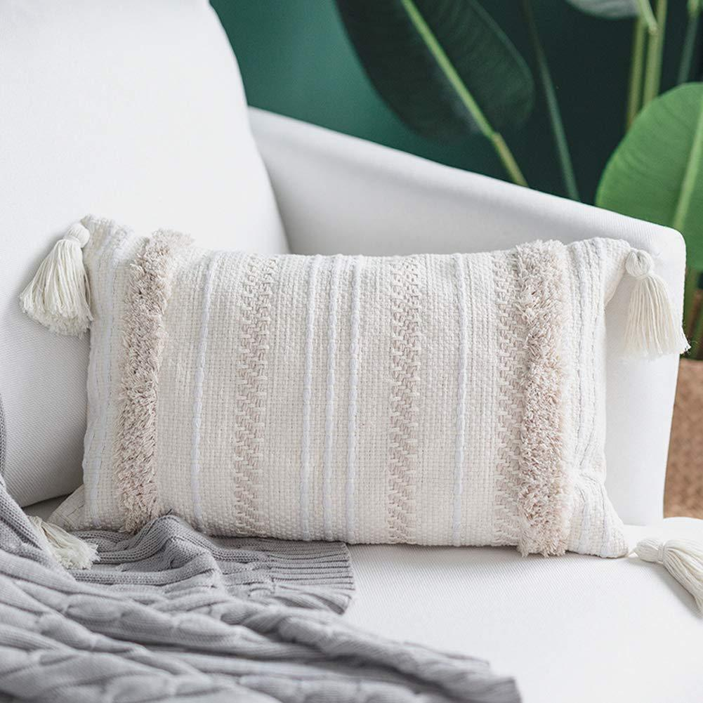 lumbar small decorative throw pillow covers for couch sofa bedroom living room woven tufted boho pillows cover with tassels cute farmhouse pillows