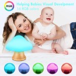 Children S Night Light Angtuo Wooden Mushroom Lamp Silicone Led Bedsid Zingydecor