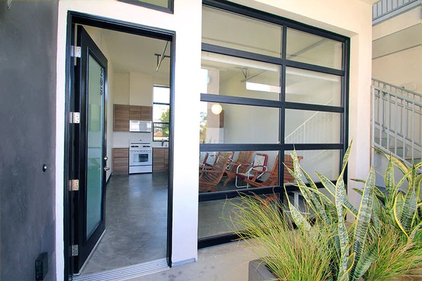 contemporary aluminum clear tempered glass garage door