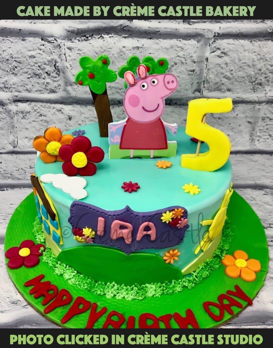 Peppa Pig Theme Cake Order Cake Online Gurugram Noida And Greater Noida Creme Castle