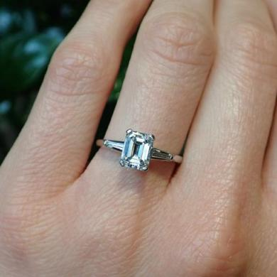 Vintage Diamond Engagement Ring  Emerald Cut 1 22ct      Doyle   Doyle