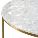 Lorenz 100cm Round Marble Coffee Table Brushed Gold Interior Secrets
