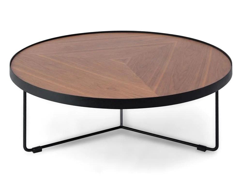 luna 90cm round coffee table walnut top black frame
