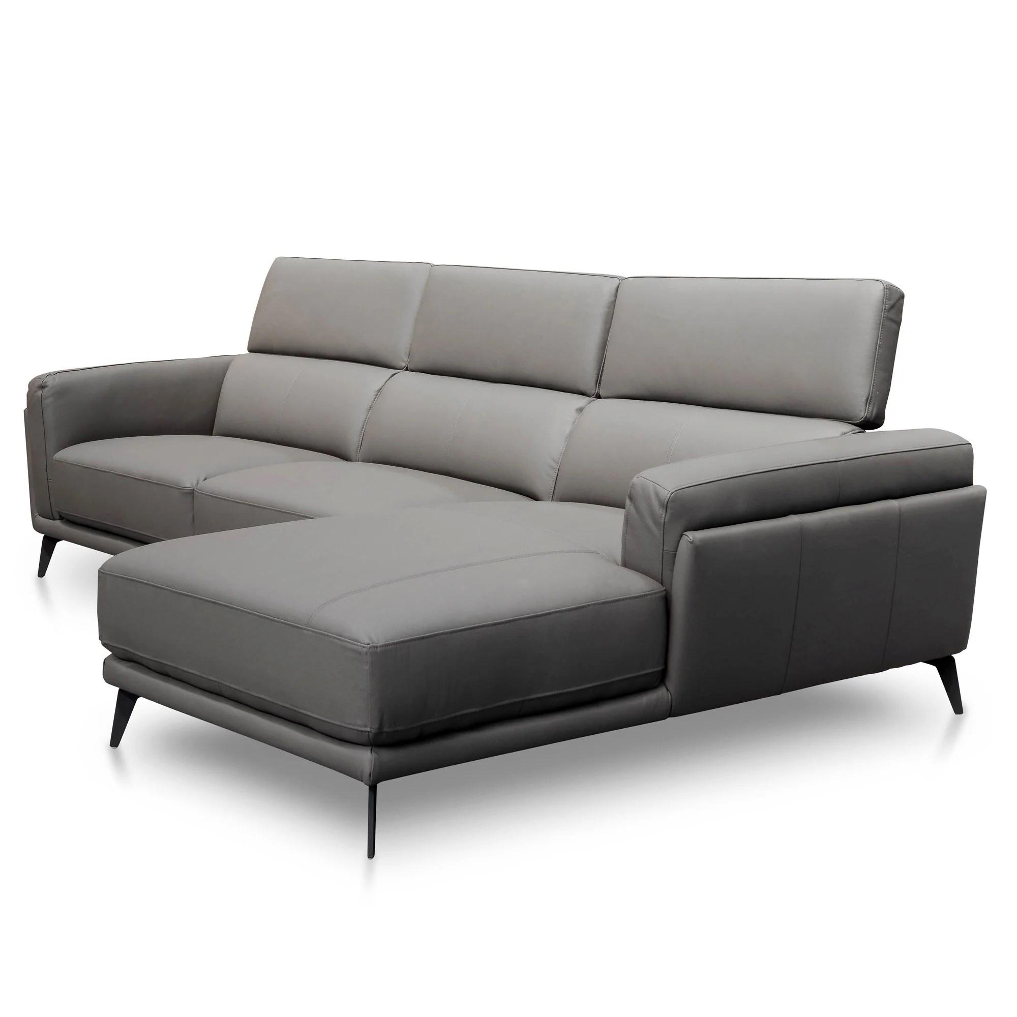 Mendoza 3 Seater Right Chaise Sofa Dark Grey Leather Interior Secrets