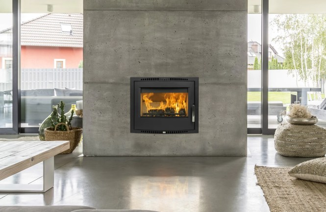 Image Of Blake Fireplace In Ivory Pearl With The Robin Solid Fuel Stove Cream Enamel