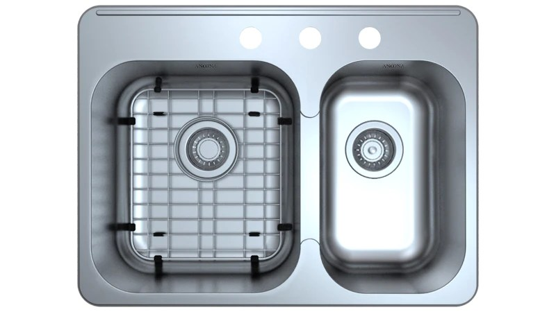 capri series drop in stainless steel 27 in 3 hole 60 40 double bowl kitchen sink with grid and strainers