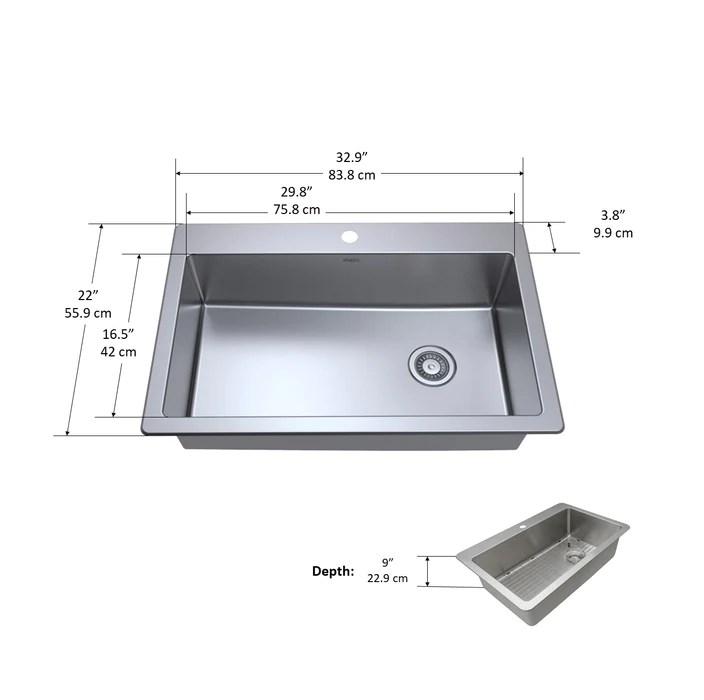 valencia series dual mount single bowl kitchen sink